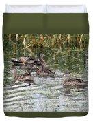 Teal Ducks Duvet Cover