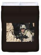 U.s. Marine Provides Security Duvet Cover