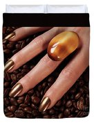 Woman Hands In Coffee Beans Duvet Cover