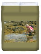 Young Girl Exploring A Maine Tidepool Duvet Cover