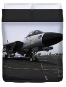 An F-14d Tomcat On The Flight Deck Duvet Cover