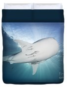 Whale Shark Feeding Under Fishing Duvet Cover
