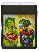 African Bead Painting  Duvet Cover