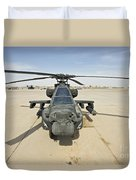 An Ah-64d Apache Helicopter At Cob Duvet Cover