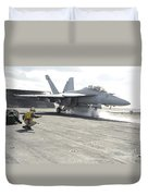 An Fa-18f Super Hornet Launches Duvet Cover