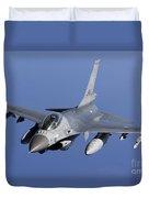 Dutch F-16am During A Combat Air Patrol Duvet Cover
