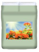 Floral Background. Lantana Flowers Duvet Cover
