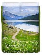 Mountain Lake In Jasper National Park Duvet Cover