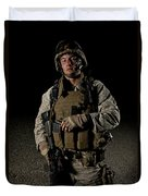Portrait Of A U.s. Marine Duvet Cover