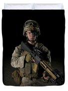 Portrait Of A U.s. Marine Wearing Night Duvet Cover