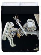 Russian Cosmonauts Working Duvet Cover