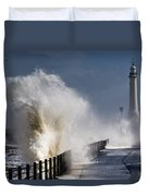 Waves Crashing By Lighthouse At Duvet Cover