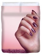 Woman Hand With Purple Nail Polish Duvet Cover