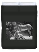 Zebras In Black And White Duvet Cover