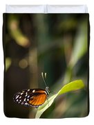 A Butterfly Rests On A Leaf Duvet Cover