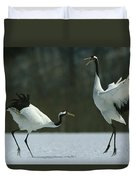 A Pair Of Japanese Or Red Crowned Duvet Cover