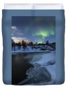 Aurora Borealis Over Tennevik River Duvet Cover