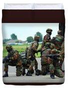 Belgian Paracommandos Entering Duvet Cover by Luc De Jaeger