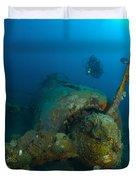 Diver Explores The Wreck Duvet Cover