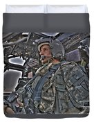 Hdr Image Of A Pilot Sitting Duvet Cover