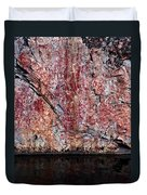 Painted Rocks At Hossa With Stone Age Paintings Duvet Cover