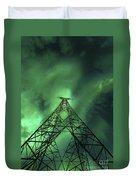 Powerlines And Aurora Borealis Duvet Cover by Arild Heitmann
