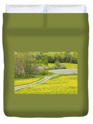 Spring Farm Landscape With Dandelion Bloom In Maine Duvet Cover