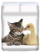 Tabby Kitten With Yellow Gosling Duvet Cover