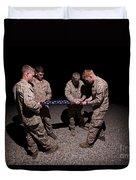 U.s. Marines Fold The American Flag Duvet Cover