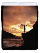 Yoga At Sunrise Duvet Cover
