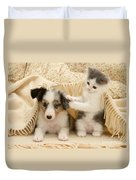 Kitten And Pup Duvet Cover by Jane Burton