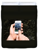 Hands Holding An Iphone Duvet Cover