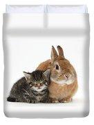 Rabbit And Kitten Duvet Cover