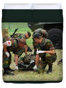 Soldiers Of A Belgian Infantry Unit Duvet Cover