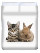 Kitten And Rabbit Duvet Cover