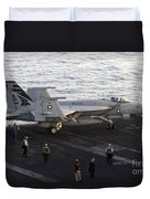 An Fa-18e Super Hornet During Flight Duvet Cover