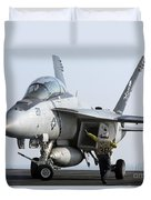 An Fa-18f Super Hornet During Flight Duvet Cover
