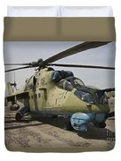 An Mi-35 Attack Helicopter At Kunduz Duvet Cover