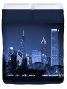 Chicago Skyline At Night Duvet Cover