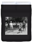 Silent Film Still: Golf Duvet Cover