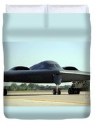 A B-2 Spirit Taxis Onto The Flightline Duvet Cover