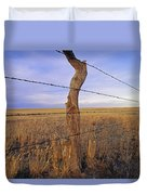 A Barbed Wire Fence Stretches Duvet Cover