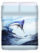A Beautiful Blue Marlin Bursts Duvet Cover