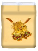 A Beautiful Intricately Carved Gold Pendant Hanging From A Semi-precious Stone Chain Duvet Cover