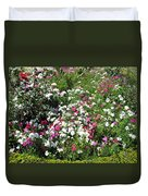 A Bed Of Beautiful Different Color Flowers Duvet Cover