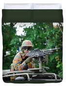 A Belgian Army Soldier Handling Duvet Cover