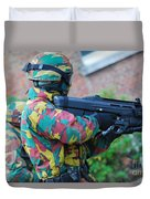 A Belgian Paratrooper  Handling The Fn Duvet Cover by Luc De Jaeger