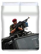 A Belgian Paratrooper Manning A Fn Mag Duvet Cover
