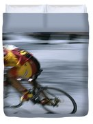 A Bicyclist Speeds Past In A Race Duvet Cover