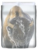 A Bison Covered By Ice And Fog Duvet Cover